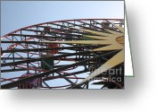 California Adventure Park Greeting Cards - Ferris Wheel - 5D17620 Greeting Card by Wingsdomain Art and Photography