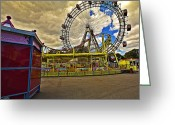 Amusement Ride Greeting Cards - Ferris Wheel - Vienna Greeting Card by Madeline Ellis