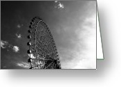 Amusement Park Greeting Cards - Ferris Wheel Against Sky Greeting Card by Kiyoshi Noguchi