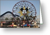 California Adventure Greeting Cards - Ferris Wheel and Roller Coaster - Paradise Pier - Disney California Adventure - Anaheim California - Greeting Card by Wingsdomain Art and Photography