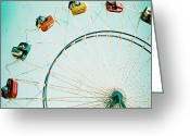 Fairgrounds Greeting Cards - Ferris Wheel Square Greeting Card by Kim Fearheiley