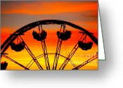 Ferris Wheels Greeting Cards - Ferris Wheel Sunset Greeting Card by Cheryl Young