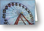 Fairgrounds Greeting Cards - Ferris Wheel Greeting Card by Susan Candelario