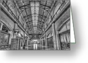 Stores Greeting Cards - Ferry Market Building Black and White Greeting Card by Scott Norris