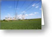 Rape Greeting Cards - Ferrybridge Power Station And Rape Field Greeting Card by Mark Sykes