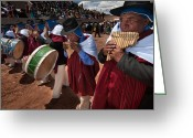 Andes Greeting Cards - Festival of traditional dances. Population of Tiwanaku. Republic of Bolivia. Greeting Card by Eric Bauer