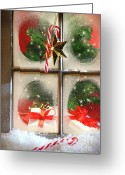 Warm Greeting Cards - Festive holiday window Greeting Card by Sandra Cunningham