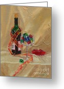 Ornaments Painting Greeting Cards - Festive Greeting Card by Laura Lee Zanghetti