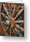 Cities Greeting Cards - Festive Wagon Wheel Greeting Card by Steven Ainsworth