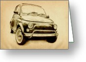Drawing Greeting Cards - Fiat 500L 1969 Greeting Card by Michael Tompsett
