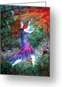 Woman Tapestries - Textiles Greeting Cards - Fiddler of the Forest Greeting Card by Sue Duda