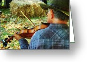 Violin Bows Violin Bows Greeting Cards - Fiddler Greeting Card by Susan Savad
