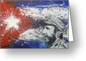 Fidel Castro Greeting Cards - Fidel Castro Cuban Flag Greeting Card by William McCann