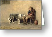 Dogs Painting Greeting Cards - Fidelity Greeting Card by Briton Riviere
