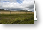 Canadian Foothills Landscape Greeting Cards - Field and fence Greeting Card by Marlene Ford