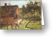 Feeding Painting Greeting Cards - Field at Varengeville Greeting Card by Camille Pissarro 