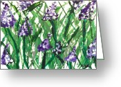Purples Greeting Cards - Field Flowers Greeting Card by Marsha Heiken