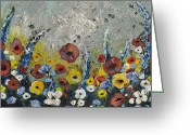 Bright Sculpture Greeting Cards - Field In Greeting Card by Amanda  Sanford