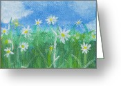 Kingston Greeting Cards - Field of Daisies 1 Greeting Card by Angella Kingston