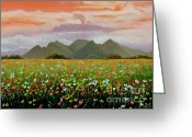 Carolinestreet Greeting Cards - Field of Flowers Greeting Card by Caroline Street