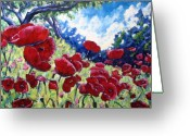 Flowers Direct Greeting Cards - Field Of Poppies 02 Greeting Card by Richard T Pranke