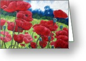Artiste Greeting Cards - Field Of Poppies Greeting Card by Richard T Pranke