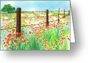 "\\\""barbed Wire Fence\\\\\\\"" Drawings Greeting Cards - Field of Poppies Greeting Card by Sharon Blanchard"