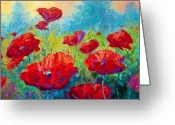 Landscape Greeting Cards - Field Of Red Poppies Greeting Card by Marion Rose