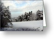 Snow On Field Greeting Cards - Field of Snow Greeting Card by Oenita Blair