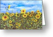 Flowers Of Nature Greeting Cards - Field Of Sunflowers Greeting Card by Arline Wagner