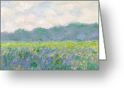 Flowering Greeting Cards - Field of Yellow Irises at Giverny Greeting Card by Claude Monet
