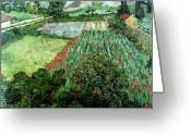 Post-impressionist Greeting Cards - Field with Poppies Greeting Card by Vincent Van Gogh