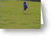 Sports Glass Greeting Cards - Fielding Greeting Card by Peter  McIntosh