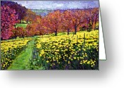 Featured Artist Painting Greeting Cards - Fields of Golden Daffodils Greeting Card by David Lloyd Glover