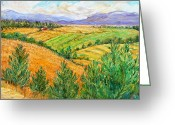 Orange And Green Greeting Cards - Fields of Summer Greeting Card by Ethel Vrana