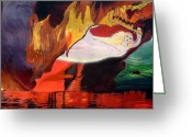 Baptize Greeting Cards - Fiery Baptize Greeting Card by John Paul Blanchette