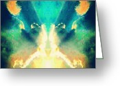 Droid Greeting Cards - Fiery Clouds Kiss #android #abstract Greeting Card by Marianne Dow