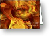 Whorl Greeting Cards - Fiery Mist Greeting Card by Michal Boubin
