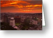 Gabor Pozsgai Greeting Cards - Fiery Seoul sunset Greeting Card by Gabor Pozsgai