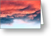 Awe Inspiring Greeting Cards - Fiery Storm Clouds Greeting Card by Tracie Kaska