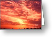 Stock Photography Greeting Cards - Fiery Sunrise Greeting Card by Graham Taylor