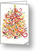 Holiday Notecard Greeting Cards - Fiesta Christmas Tree Greeting Card by Michele Hollister - for Nancy Asbell