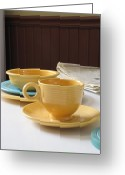 Kitchen Ware Greeting Cards - Fiesta Cup Greeting Card by Kelly Mezzapelle