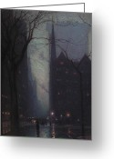 Raining Painting Greeting Cards - Fifth Avenue at Twilight Greeting Card by Lowell Birge Harrison