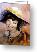 Posh Painting Greeting Cards - Fifties Girl Greeting Card by Steven Ponsford