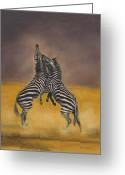 Mammals Pastels Greeting Cards - Fight for Survival Greeting Card by Bev Lewis