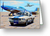 P-51 Greeting Cards - Fighter and Shelby Mustangs Greeting Card by Frank Dalton