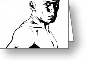 Man Drawings Greeting Cards - Fighter Greeting Card by Giuseppe Cristiano