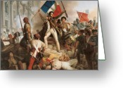 Revolutionaries Greeting Cards - Fighting at the Hotel de Ville Greeting Card by Jean Victor Schnetz
