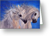 Arabian Photographs Greeting Cards - Fighting Stallions Greeting Card by El Luwanaya Arabians